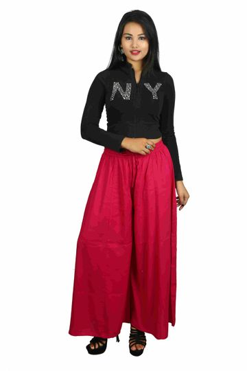 V Brown | Pink Solid Women's Rayon Casual Wear Palazzo