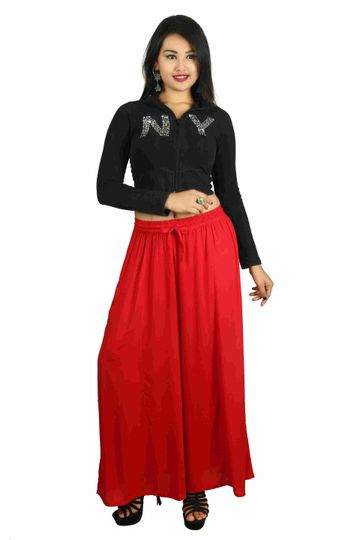 V Brown | Red Solid Women's Rayon Casual Wear Palazzo