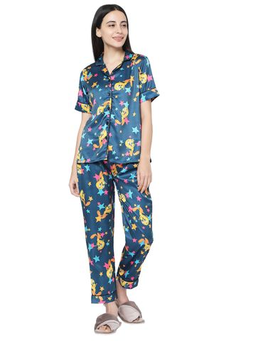 Smarty Pants | Smarty Pants women's silk satin teal blue tweety print night suit