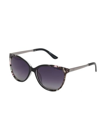 ENRICO | ENRICO Lilac Style Polycarbonate UV Protected Cateye Sunglasses for Women ( Lens - Black | Frame - Black)