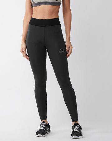 Masch Sports   Masch Sports Women's Grey Solid Sports Tights with Detailed Colour Block Black and White Back Panel