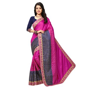 SATIMA   Elegant Pink Silk Blend Embroidered Saree