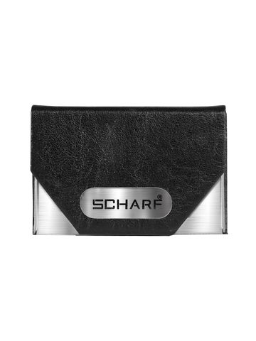 SCHARF   Business Card Holder Wallet Leather & Stainless Steel Multi Card Case for Men & Women