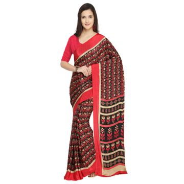 SATIMA | Satima Red & multiCrepeFloral print Saree