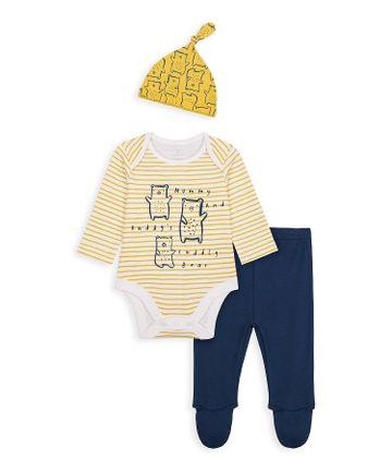 Mothercare | Boys Full Sleeves 3 Piece Set Bear Print - Yellow