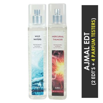 Ajmal | Ajmal Wild Waters EDT & Mercurial Thunder EDT  pack of 2 each 250ml (Total 500ML) for Unisex + 4 Parfum Testers