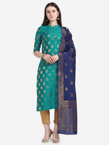 SATIMA | Sky Blue Weaving Jaquard Silk Dress Material