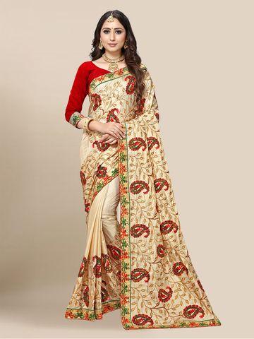 SATIMA | Women's Cream Embroidered Work Trendy Classic Saree