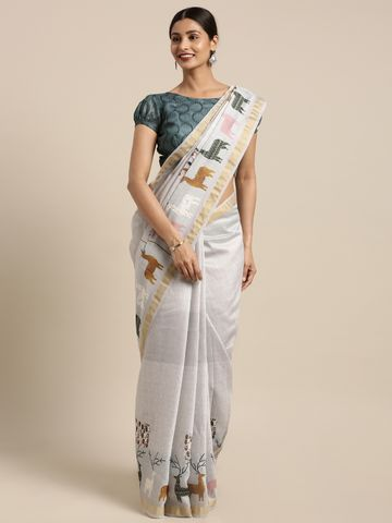 SATIMA | Satima Grey & MultiLinen CottonAnimal Print Saree