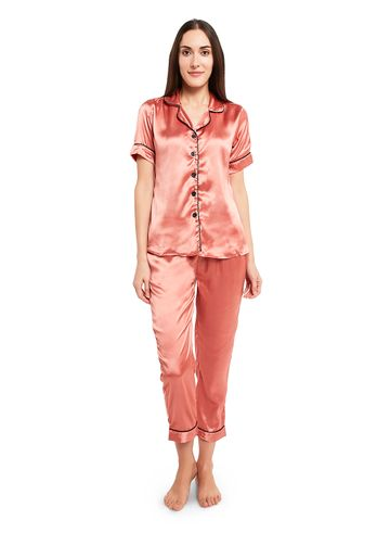 Smarty Pants | Silk satin solid peach color night suit