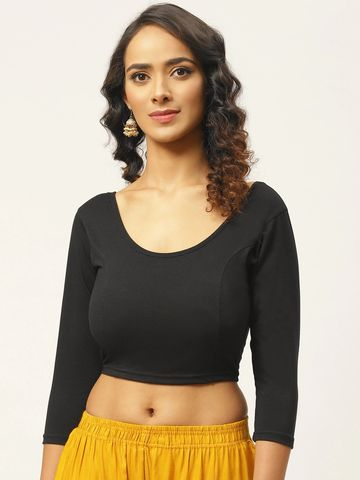 Vastranand | VASTRANAND Women Black Cotton Solid Stretchable Saree Blouse