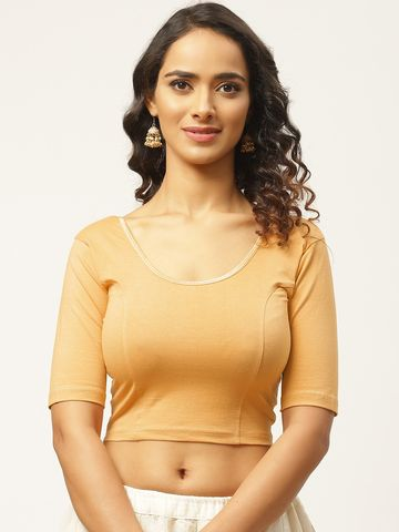 Vastranand | VASTRANAND Women Beige Cotton Solid Stretchable Saree Blouse