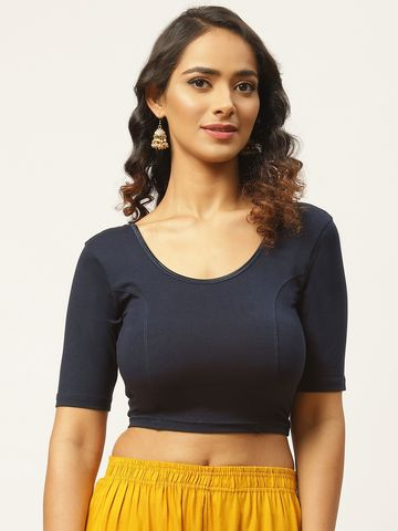 Vastranand | VASTRANAND Women Navy Blue Cotton Solid Stretchable Saree Blouse