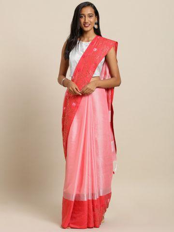 Vastranand | VASTRANAND  White & Pink Linen Blend Printed Khadi Saree