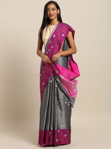Vastranand | VASTRANAND  Grey & Pink Linen Blend Solid Embellished Border Khadi Saree