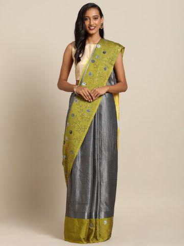 Vastranand | VASTRANAND  Grey & Yellow Linen Blend Solid Khadi Saree