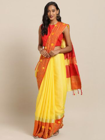 Vastranand | VASTRANAND  Yellow & Orange Linen Blend Solid Khadi Saree