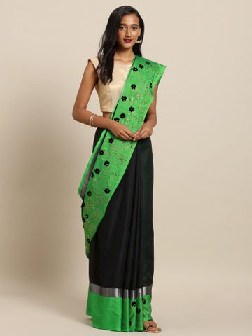 Vastranand | VASTRANAND  Black & Green Linen Blend Solid Embellished Border Khadi Saree