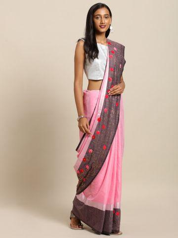Vastranand   VASTRANAND  Pink & Black Linen Blend Solid Khadi Saree
