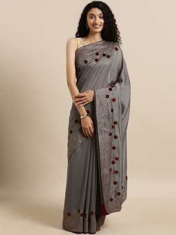 Vastranand | VASTRANAND  Grey Vichitra Silk Solid Saree with Embellished Border