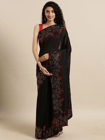 Vastranand | VASTRANAND  Black Vichitra Silk Solid Saree with Embellished Border