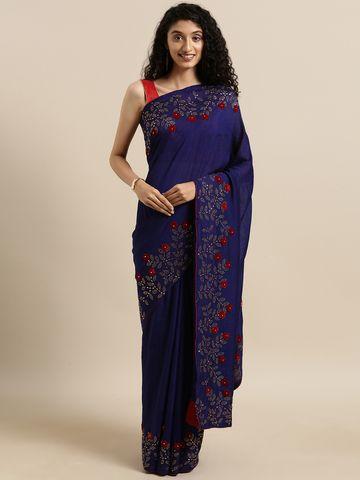 Vastranand | VASTRANAND  Navy Blue Vichitra Silk Solid Saree with Embellished Border
