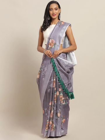 Vastranand | VASTRANAND Grey & Peach-Coloured Linen Blend Printed Saree with Tassels
