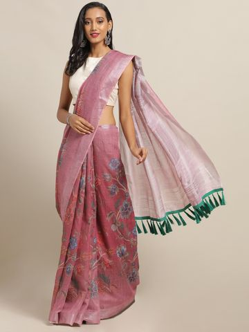 Vastranand | VASTRANAND Mauve & Blue Linen Blend Printed Saree with Tassels