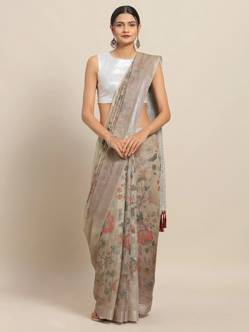 Vastranand | VASTRANAND Taupe Floral Printed Linen Blend Saree