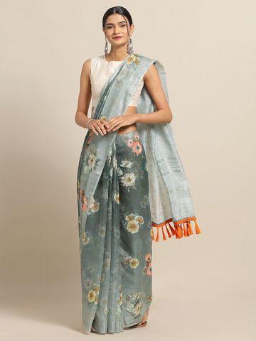 Vastranand | VASTRANAND Grey & Pink Linen Blend Printed Saree