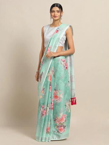 Vastranand | VASTRANAND Sea Green & Pink Linen Blend Printed Saree
