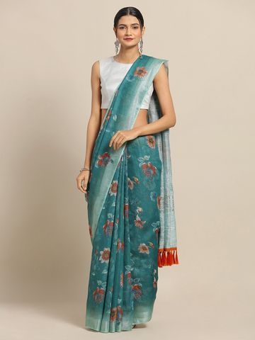Vastranand | VASTRANAND Teal Green Floral Printed Linen Blend Saree