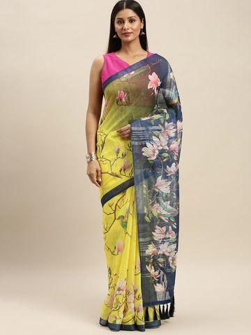 Vastranand | VASTRANAND Yellow & Navy Blue Linen Blend Digital Printed Saree