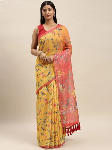 Vastranand | VASTRANAND Mustard Yellow & Red Linen Blend Digital Printed Saree