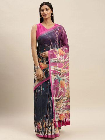 Vastranand | VASTRANAND Black & Pink Linen Blend Digital Printed Saree