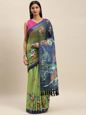 Vastranand | VASTRANAND Green & Navy Blue Linen Blend Digital Printed Saree