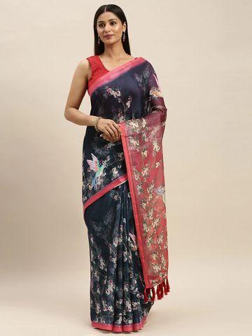 Vastranand | VASTRANAND Navy Blue & Red Linen Blend Digital Printed Saree