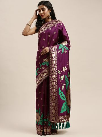 Vastranand | VASTRANAND  Burgundy Silk Blend Woven Design Banarasi Saree