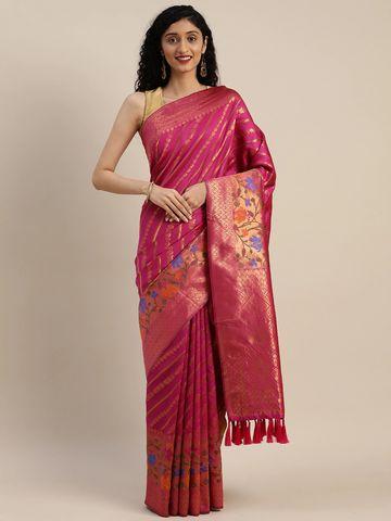 Vastranand   VASTRANAND  Pink & Gold-Toned Cotton Blend Striped Banarasi Saree