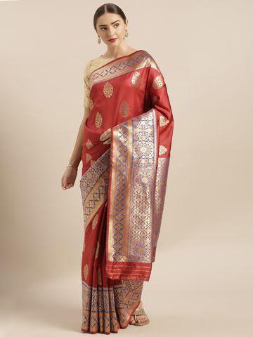 Vastranand | VASTRANAND  Red & Gold-Toned Silk Blend Woven Design Banarasi Saree