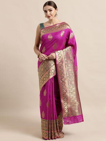 Vastranand | VASTRANAND  Pink & Green Silk Blend Woven Design Banarasi Saree