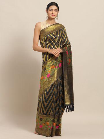 Vastranand | VASTRANAND Black & Gold-Toned Cotton Blend Striped Banarasi Saree