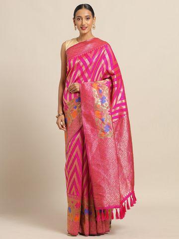 Vastranand   VASTRANAND Pink & Golden Cotton Blend Woven Design Kanjeevaram Saree