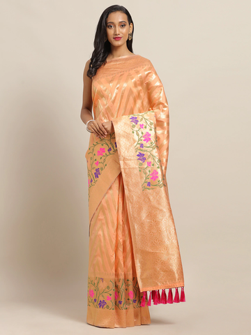 Vastranand | VASTRANAND Orange & Gold-Toned Cotton Blend Woven Design Banarasi Saree