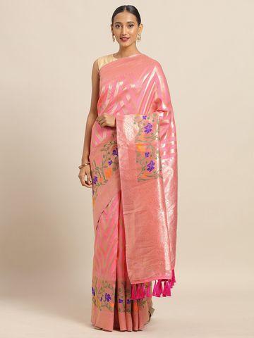 Vastranand | VASTRANAND Pink & Golden Cotton Blend Woven Design Kanjeevaram Saree