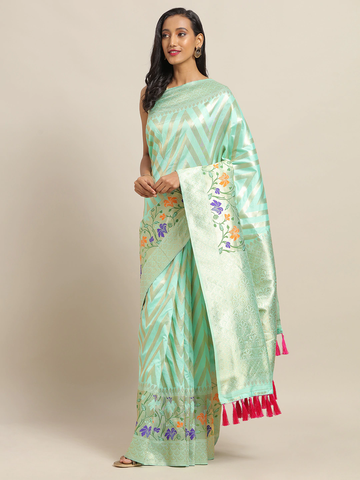 Vastranand | VASTRANAND Sea Green & Gold-Toned Cotton Blend Woven Design Banarasi Saree