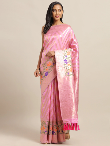 Vastranand | VASTRANAND Pink & Gold-Toned Cotton Blend Woven Design Banarasi Saree