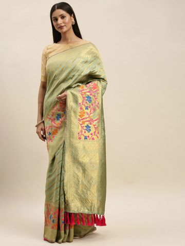Vastranand | VASTRANAND Olive Green & Gold-Toned Cotton Blend Woven Design Banarasi Saree