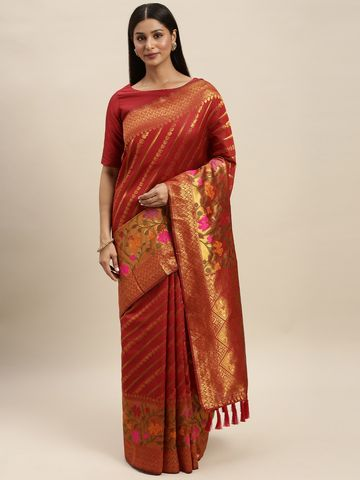 Vastranand | VASTRANAND Red & Gold-Toned Cotton Blend Woven Design Banarasi Saree