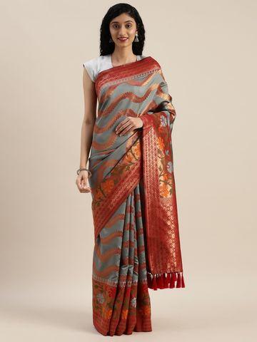 Vastranand | VASTRANAND  Grey & Red Silk Blend Printed Banarasi Saree